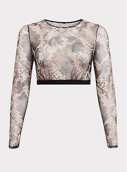 Snakeskin Print Mesh Long Sleeve Under-It-All Crop Top, , hi-res