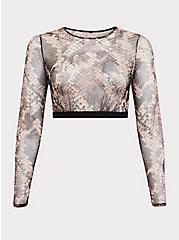 Snakeskin Print Mesh Long Sleeve Under-It-All Crop Top, , hi-res