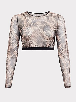 Plus Size Snakeskin Print Mesh Long Sleeve Under-It-All Crop Top, , flat