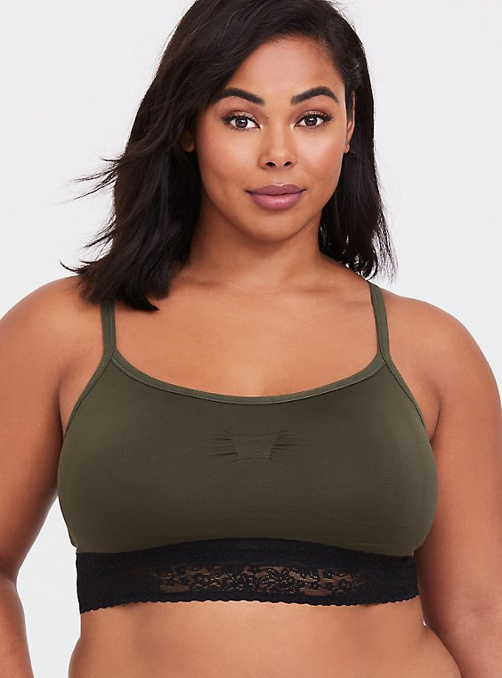 Plus Size Olive Green Seamless Lightly Padded Bralette, , hi-res