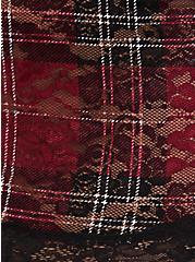 Dark Red Plaid Lace Brief Panty, PLAID-RED, alternate