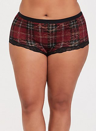 Dark Red Plaid Lace Brief Panty, PLAID-RED, hi-res