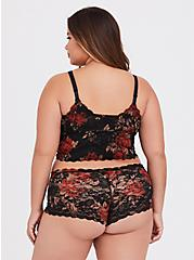 Black & Red Floral Lacey Cheeky Panty, FLORALS-BLACK, alternate