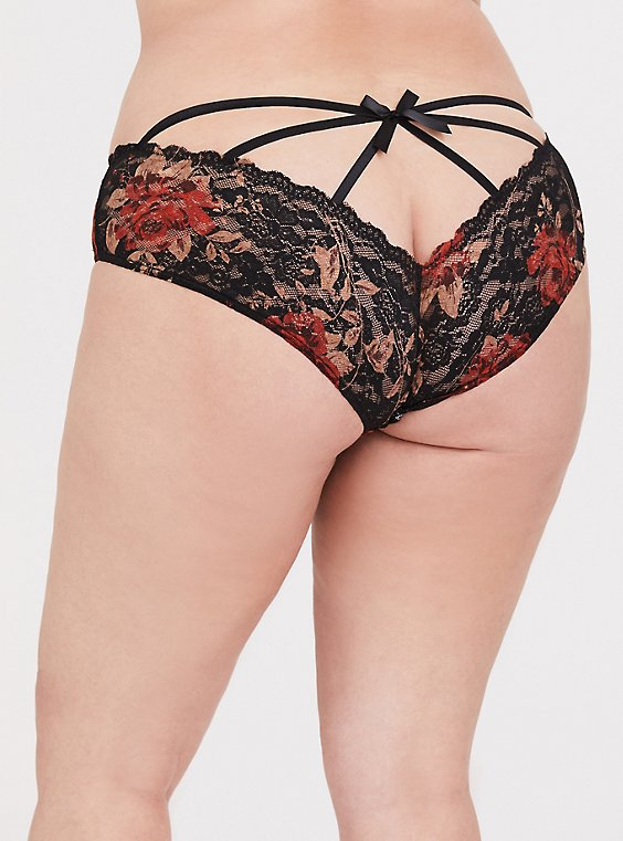 Black & Red Floral Lace Caged Hipster Panty, , hi-res