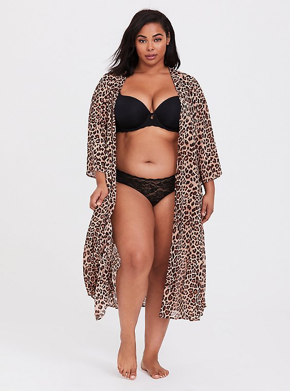 Leopard Chiffon Sleep Robe, , hi-res