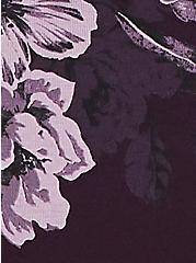 Plus Size Grape Purple Floral Wide Lace Cotton Thong Panty, FLORALS-PURPLE, alternate