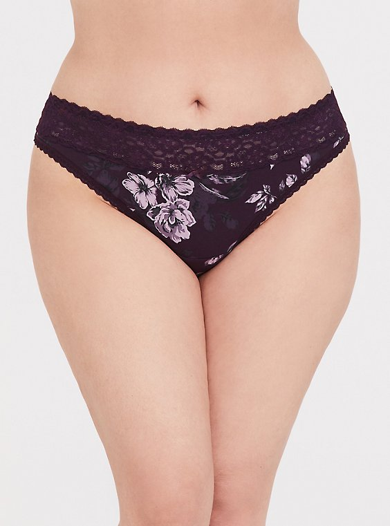Grape Purple Floral Wide Lace Cotton Thong Panty, , hi-res