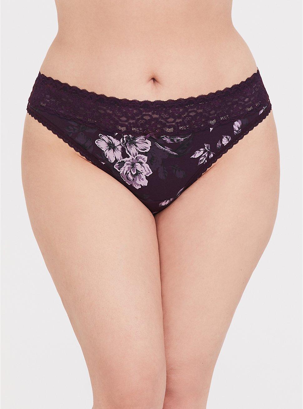 Plus Size Grape Purple Floral Wide Lace Cotton Thong Panty, FLORALS-PURPLE, hi-res