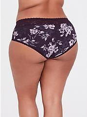 Grape Purple Floral Wide Lace Cotton Cheeky Panty, FLORALS-PURPLE, alternate