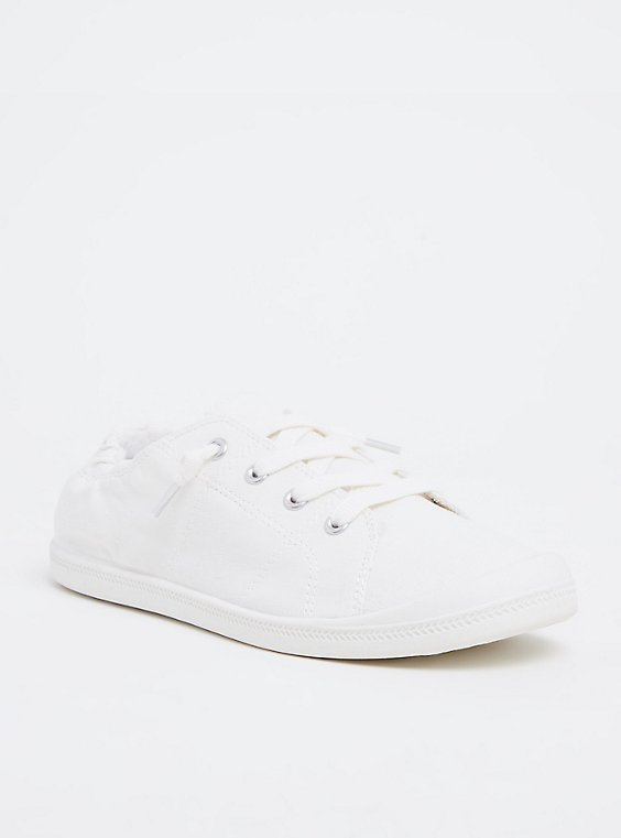 Plus Size White Ruched Sneaker (WW), , hi-res