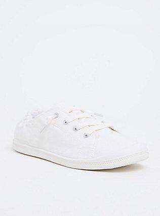 Plus Size White Ruched Sneaker (WW), WHITE, hi-res