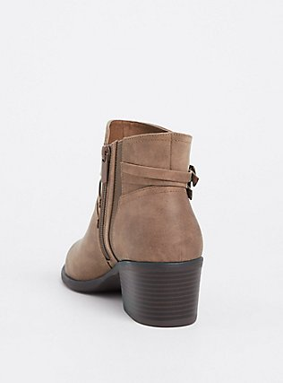 Plus Size Taupe Faux Suede Strappy Bootie (WW), BROWN, alternate