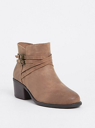 Plus Size Taupe Faux Suede Strappy Bootie (WW), BROWN, hi-res
