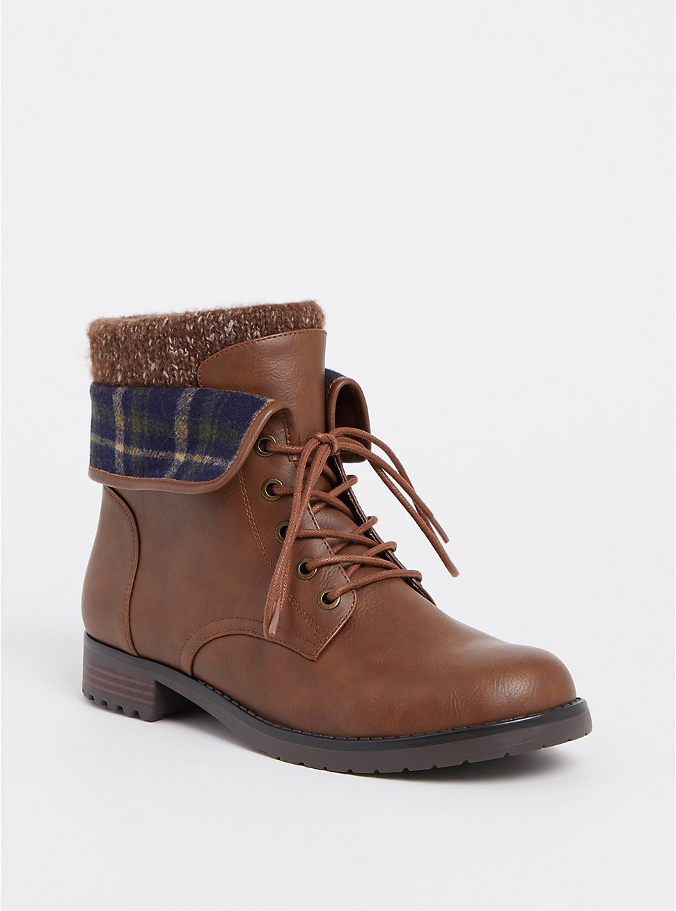 Chestnut Faux Suede Foldover Sweater Combat Boot (WW), BROWN, hi-res