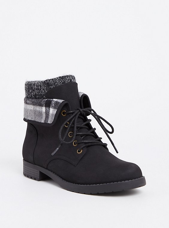Black Faux Suede Foldover Sweater Combat Boot (WW), , hi-res