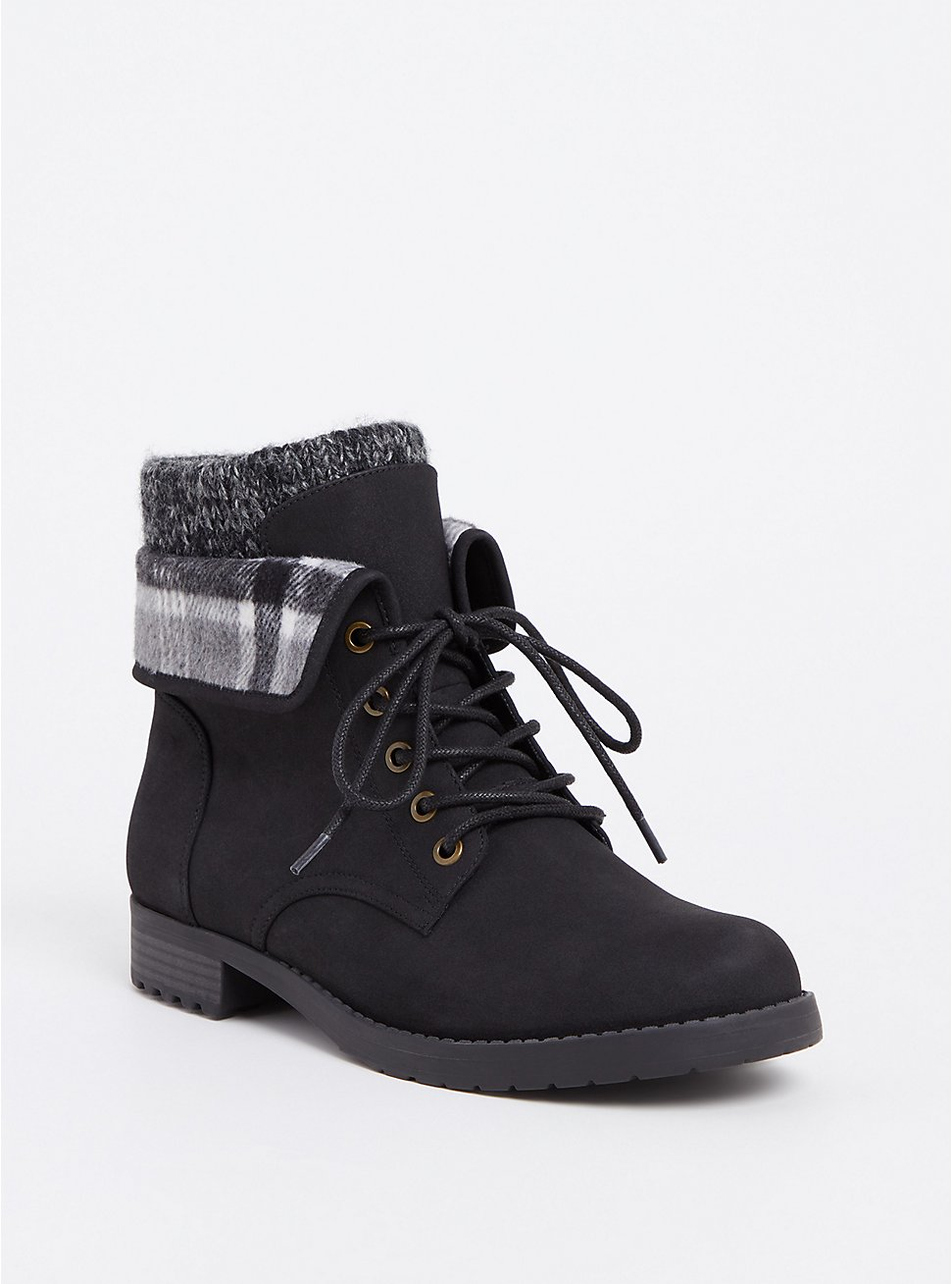 Black Faux Suede Foldover Sweater Combat Boot (WW), BLACK, hi-res