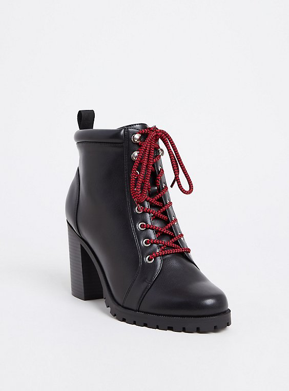 Plus Size Black Faux Leather Combat Boot (WW), , hi-res