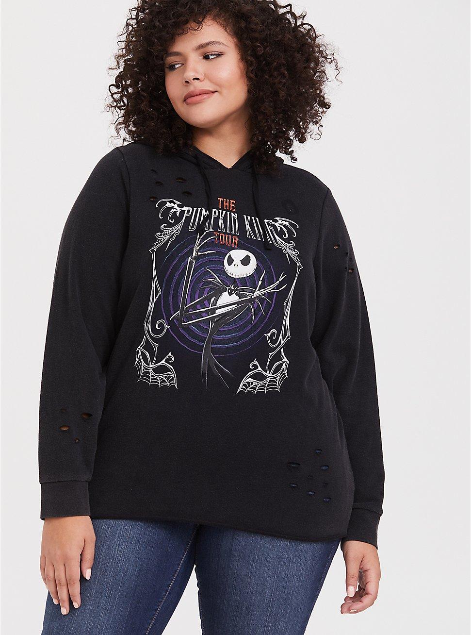 Plus Size Disney Nightmare Before Christmas Pumpkin King Black Mineral Wash Hoodie, DEEP BLACK, hi-res