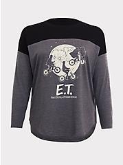E.T Colorblock Grey & Black Long Sleeve Top, HEATHER GREY, hi-res