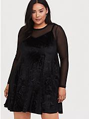 Disney The Nightmare Before Christmas Black Velvet Trapeze Dress, DEEP BLACK, alternate