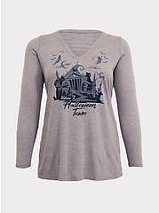 Disney The Nightmare Before Christmas Halloween Town Grey Caged Front Top, HEATHER GREY, hi-res