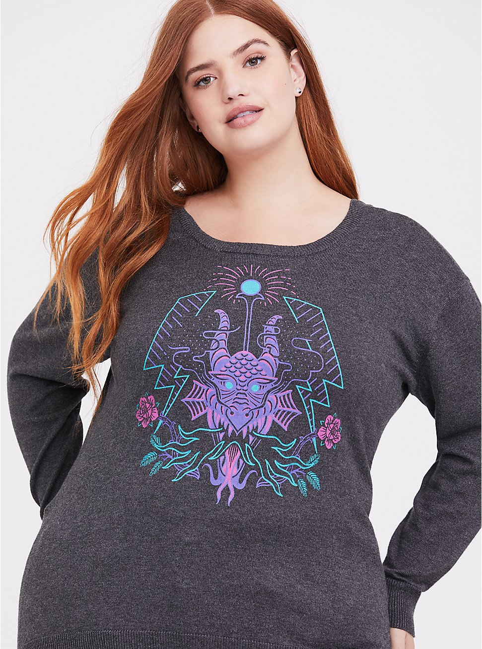 Plus Size Disney Villains Maleficent Grey Sweater-knit Crisscross Back Top, , hi-res