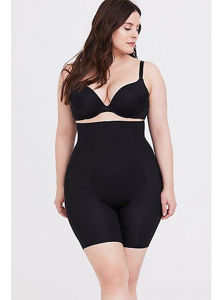 Plus Size SPANX® Thinstincts Black High Waisted Mid-Thigh Short, BLACK, hi-res