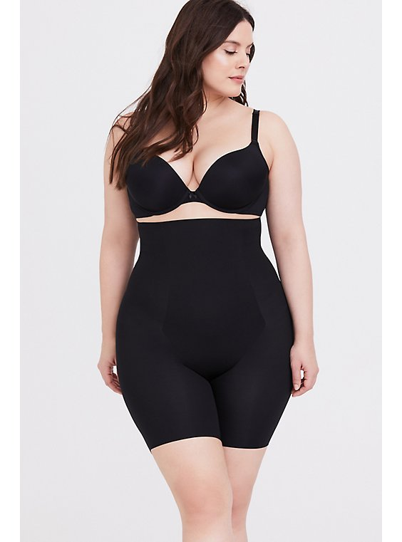 Plus Size SPANX® Thinstincts Black High Waisted Mid-Thigh Short, , hi-res