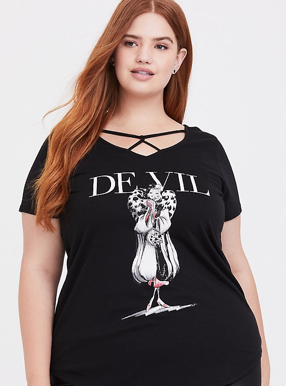 Plus Size Disney Villains Cruella De Vil Black Strappy Top, DEEP BLACK, hi-res