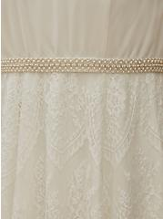 Special Occasion Ivory Lace Gown with Sash Belt, CLOUD DANCER, alternate