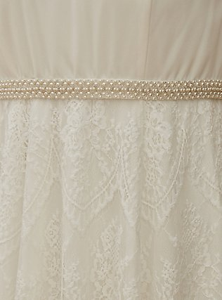 Ivory Lace Sash Belt Wedding Dress, CLOUD DANCER, alternate