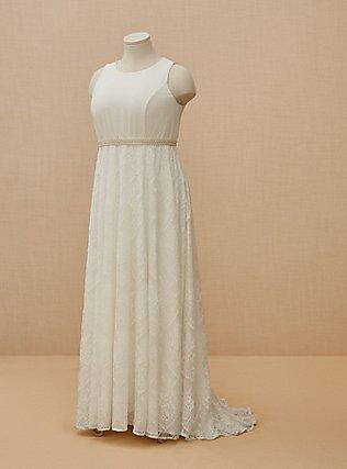Ivory Lace Sash Belt Wedding Dress, CLOUD DANCER, flat