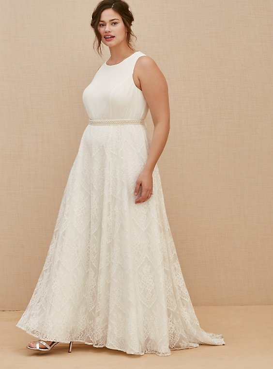 Plus Size Special Occasion Ivory Lace Gown with Sash Belt, , hi-res
