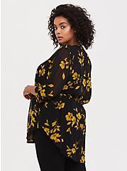 Emma - Black & Yellow Floral Chiffon Babydoll Tunic, MULTI, alternate