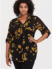 Emma - Black & Yellow Floral Chiffon Babydoll Tunic, MULTI, hi-res