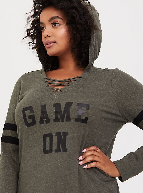 Game On Olive Green Strappy Football Hoodie, , hi-res