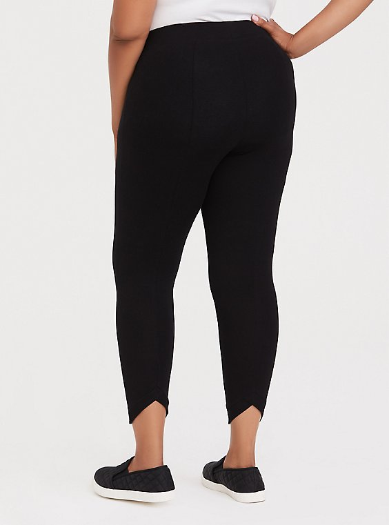 Plus Size Crop Premium Legging - Cutout Back Princess Seam Black, , hi-res