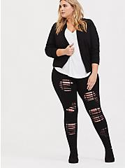 Premium Legging - Shredded Plaid Insert Shredded Black, BLACK, alternate