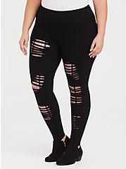 Premium Legging - Shredded Plaid Insert Shredded Black, BLACK, hi-res