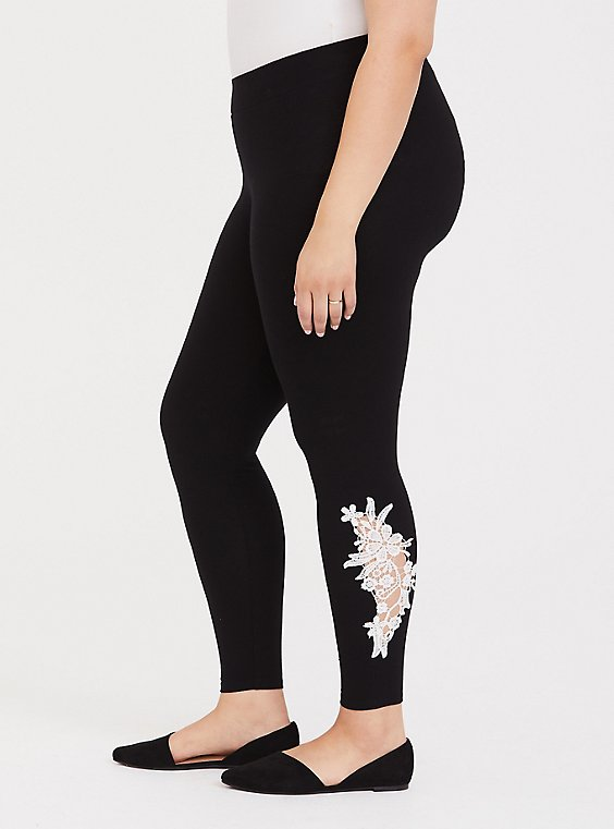 Premium Legging - Crochet Side Black, , hi-res