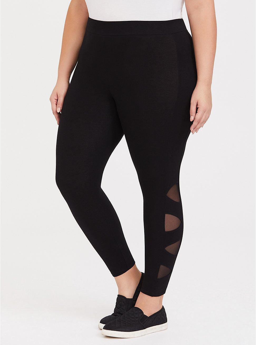 Premium Legging - Lattice Side Black, BLACK, hi-res