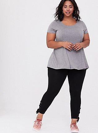 Crop Premium Legging - Self Tie Lace-Up Black, BLACK, alternate