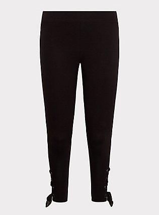 Crop Premium Legging - Self Tie Lace-Up Black, BLACK, flat