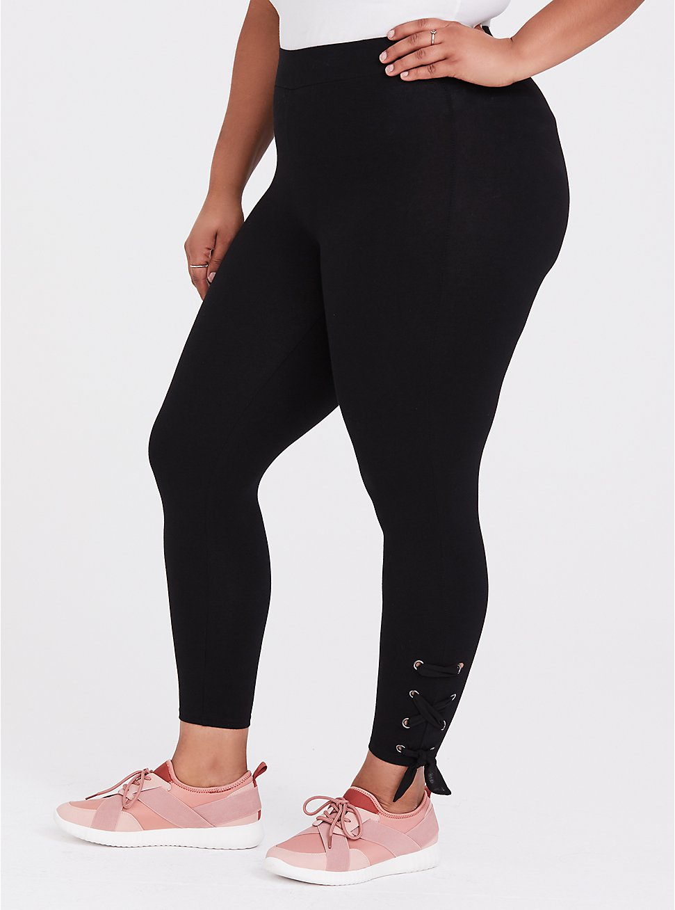 Cop Premium Legging - Self Tie Lace-Up Black, BLACK, hi-res