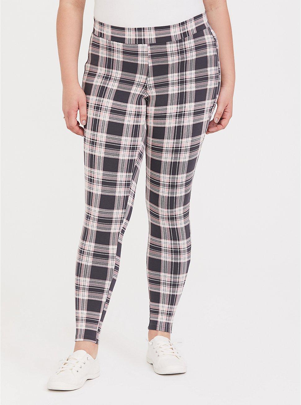 Premium Legging - Plaid Grey & Pink, RETRO PLAID, hi-res