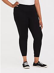 Crop Premium Legging - Back Bow & Keyhole Black, BLACK, alternate