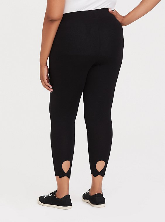 Crop Premium Legging - Back Bow & Keyhole Black, , hi-res