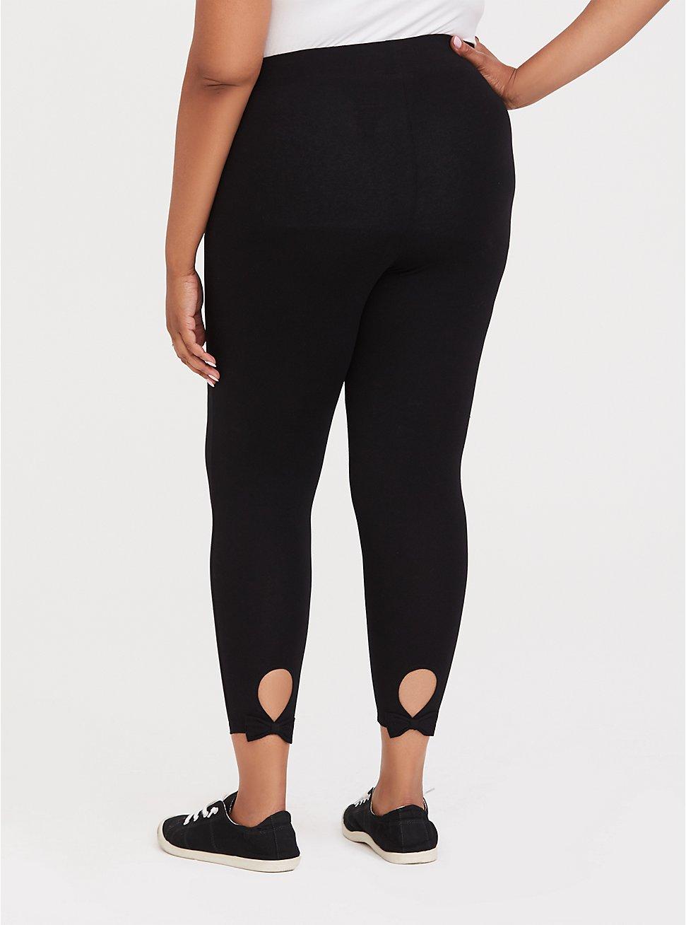Crop Premium Legging - Back Bow & Keyhole Black, BLACK, hi-res