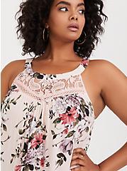 Plus Size Light Pink Floral Challis & Lace Goddess Tank, MULTI, alternate