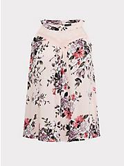 Plus Size Light Pink Floral Challis & Lace Goddess Tank, MULTI, hi-res